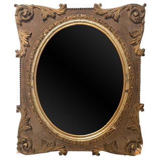 Large Antique Victorian Oval Glass Ornate Picture Frame