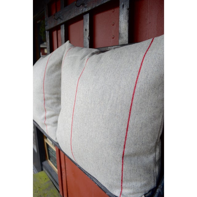 Contemporary FirmaMenta Italian Red Striped Sustainable Wool Pillow For Sale - Image 3 of 6