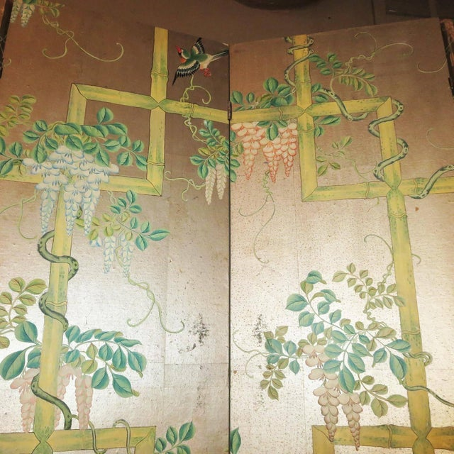 Paper 19th Century Four-Panel Painted Screen of Birds and Bamboo For Sale - Image 7 of 9