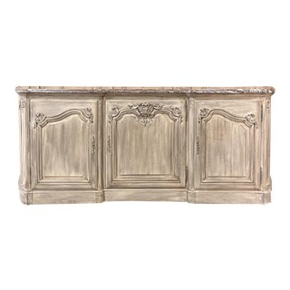 Antique French Louis XIV Whitewashed Marble Top Buffet ~ Credenza For Sale