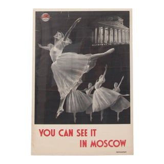 Original 1950s 'You Can See It in Moscow' Russian Travel Poster For Sale