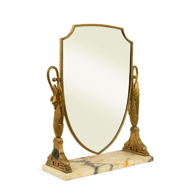 French Empire style (19th Century) bronze dore swan side shield shaped dressing table / vanity mirror with rectangular...