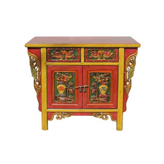 Chinese Red Yellow Dimension Floral Motif Console Table Cabinet