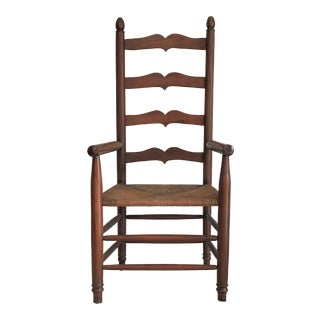 Vintage Hand-Crafted Walnut Ladder Back Arm Chair For Sale