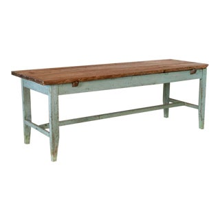 Mid 19th Century Antique Original Blue Painted Long Farm Table For Sale