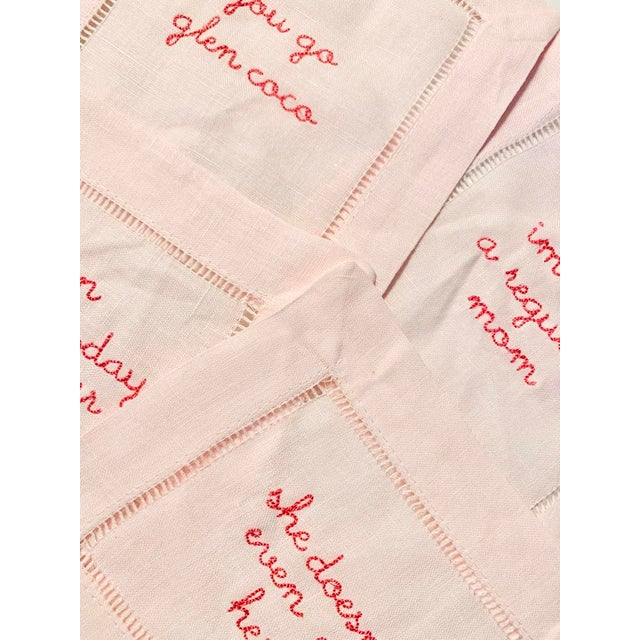 The most fabulous Set of 4 Mean Girls Cocktail Napkin Set - On Wednesday's We Wear Pink - She Doesn't Even Go Here - I'm...