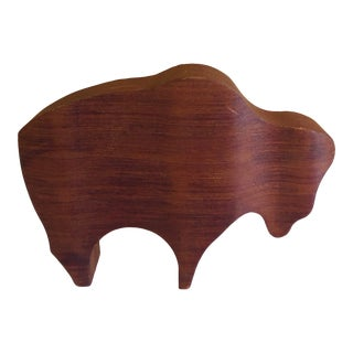 1960s Mid-Century Hand-Carved Wood Bison For Sale