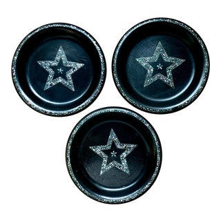 Papier-mâché & Abalone Inlaid Victorian Star Plates - Set of 3 For Sale