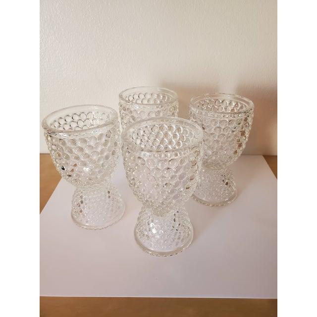 Vintage Pressed Glass Hobnail Egg Cups - Set of 4 For Sale - Image 4 of 4
