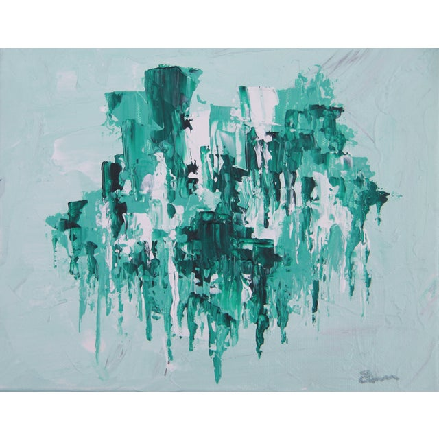 Abstract Mint Green Painting by C. Plowden - Image 1 of 2