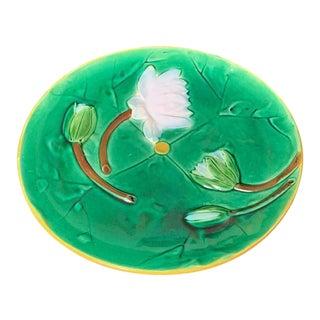 J Holdcroft Majolica Pond Lily Plate, English, C 1875, Signed 'J Holdcroft' For Sale