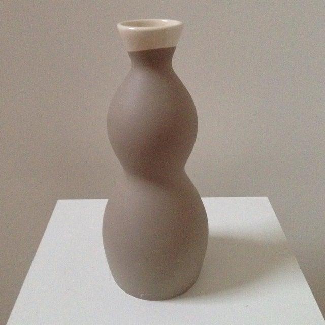 Double Gourd Form Tan Ceramic Vase - Image 6 of 7