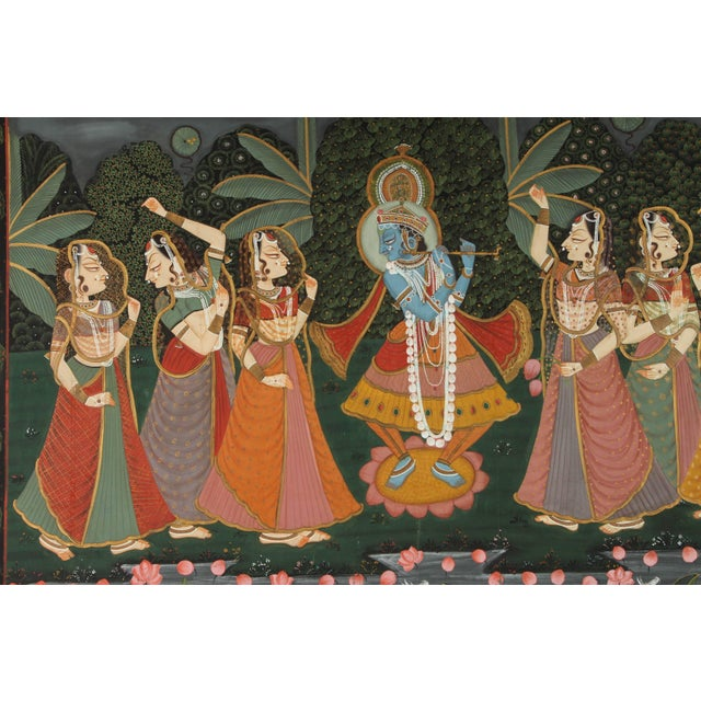 Asian Large Pichhavai Painting of Krishna With Female Gopis Dancing For Sale - Image 3 of 10