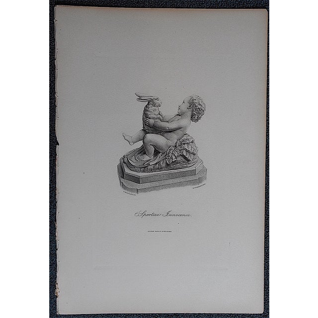 "Antique Engraving ""Sportive Innocence"" Folio Size - Image 3 of 3"