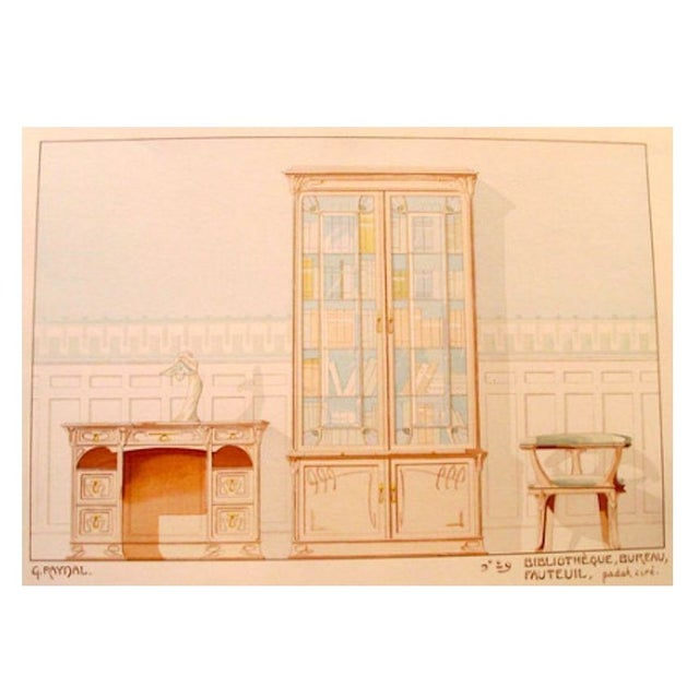 Vintage French Decorator Sheet Interior/Bookcase - Image 1 of 4