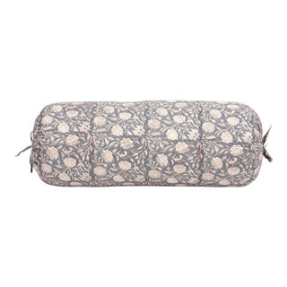 Indian Hand Blocked Cotton Bolster Pillow For Sale