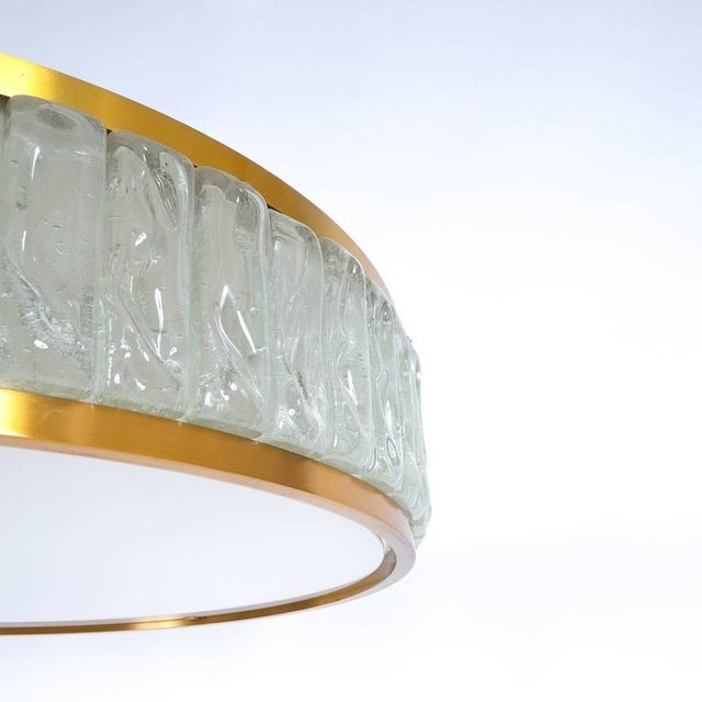 1930s Large French Art Deco Brass and Glass Flush Mounts ceiling lights by Jean Perzel For Sale - Image 5 of 9