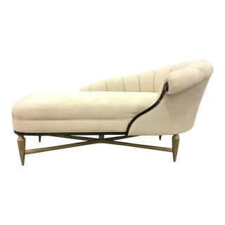 Caracole Modern White Velvet Chaise Lounge For Sale