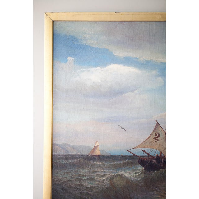 """Canvas """"Regatta on a Choppy Sea"""" Oil Painting on Canvas by Julian O. Davidson, Dated 1877 For Sale - Image 7 of 13"""