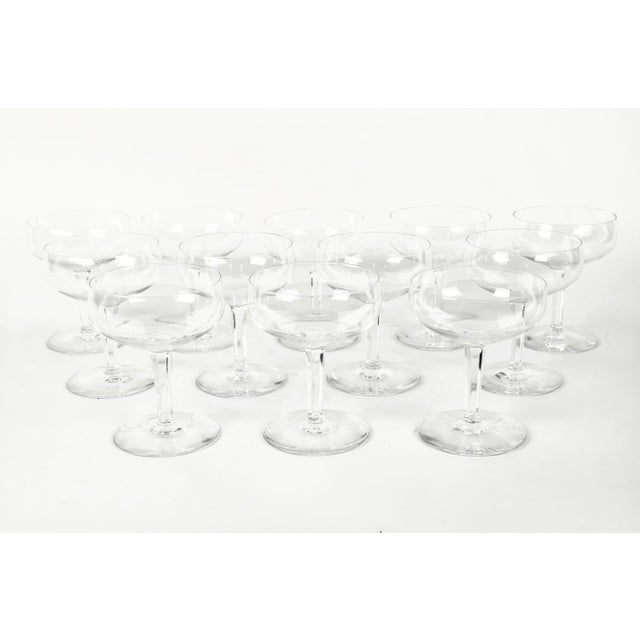 French Vintage Set 12 Baccarat Crystal Champagne Coupes For Sale - Image 3 of 7