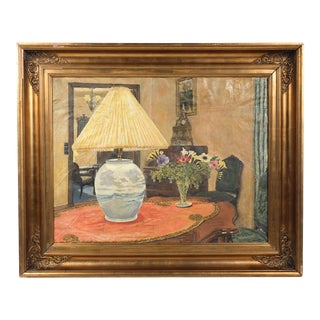 Early 20th-C. Lamp and Flowers Interior Still Life For Sale
