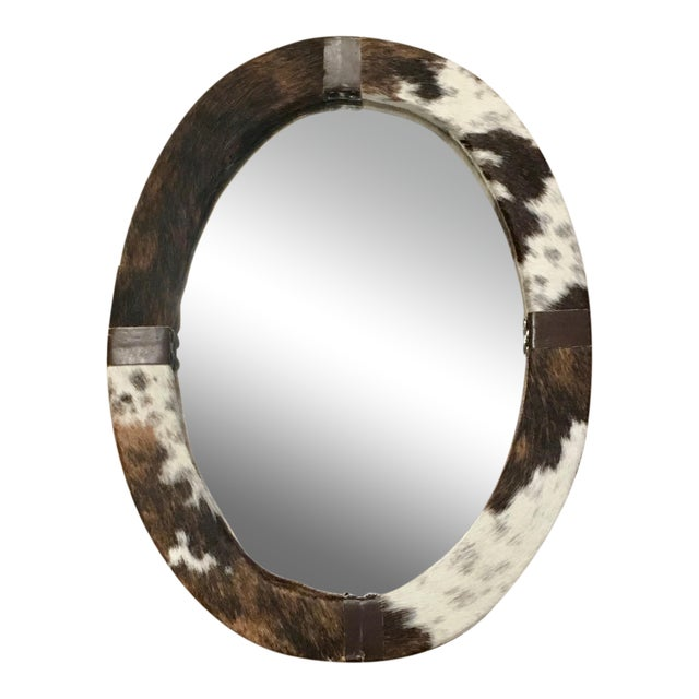 Brown & White Animal Cow Hide & Leather Oval Wall Mirror For Sale