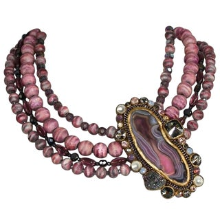 Ella K Pink Glass, Wood, and Agate Choker Necklace For Sale