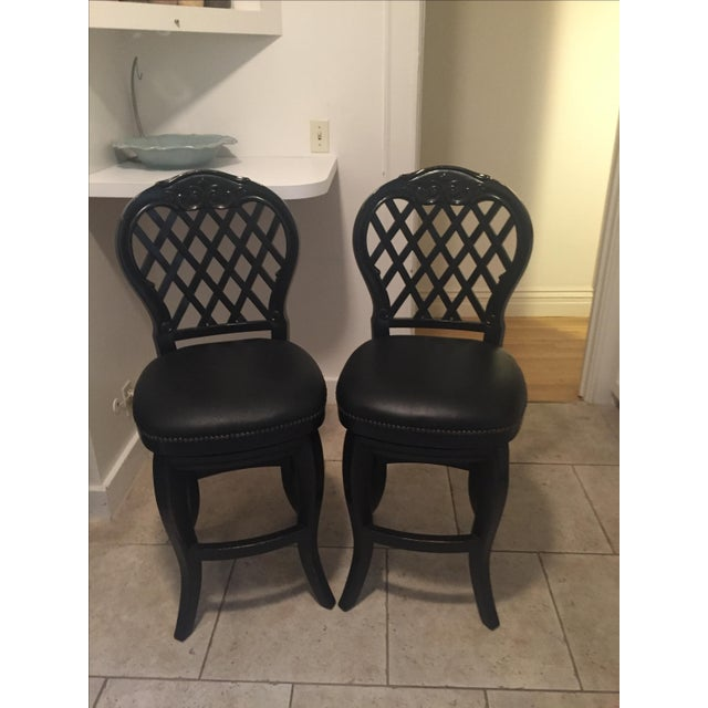 Braxton Leather & Wood Bar Stools - a Pair - Image 2 of 7