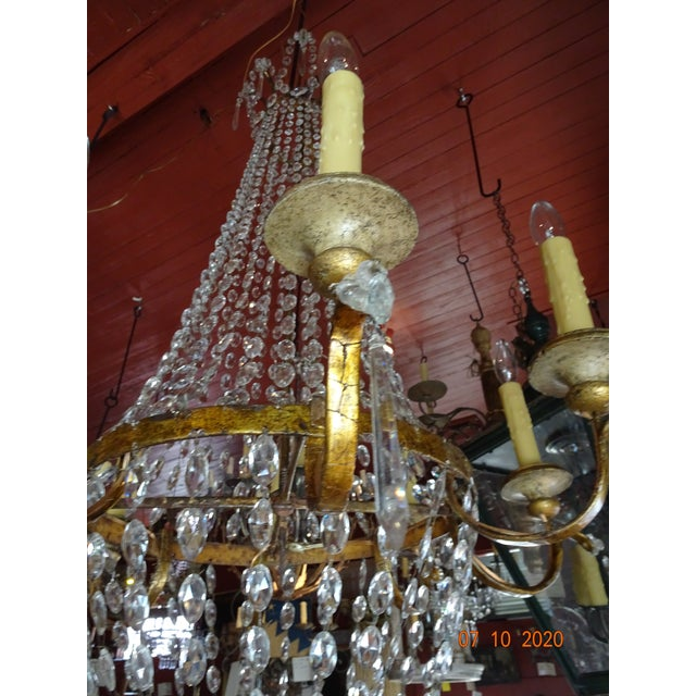 19th Century Italian Crystal and Iron Chandelier For Sale - Image 10 of 13