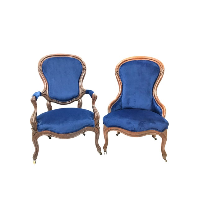 Gorgeous matching pair of Victorian Ladies and Gentleman chairs. Great  finger-molded frames made - Antique Victorian Blue Velvet With Floral Back Ladies And Gentleman