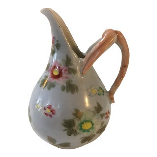 1990s Vintage Asian Floral Ceramic Creamer For Sale