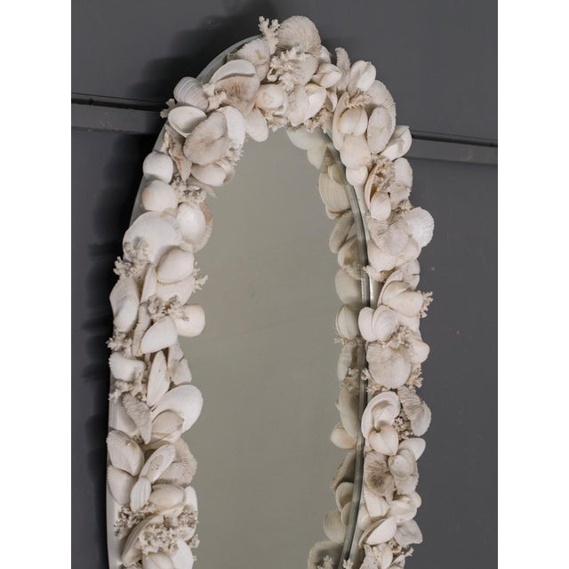 Coral Vintage French Shell Encrusted Oval Mirror circa 1950 For Sale - Image 7 of 9