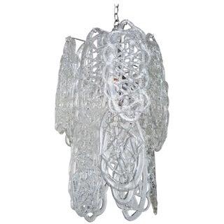 1970s Italian Murano Mazzega Glass Pretzel Pendant Chandelier For Sale