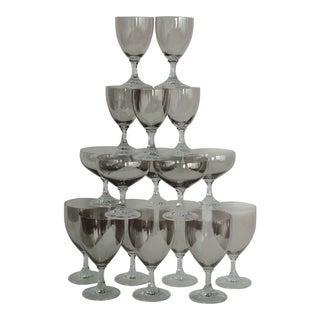 1950s Mid-Century Modern Elegant Iridescent Smoke Barware Set - 17 Pieces For Sale