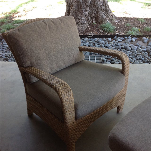 Transitional Brown Jordan Havana Outdoor Lounge Chair & Ottoman For Sale - Image 3 of 10