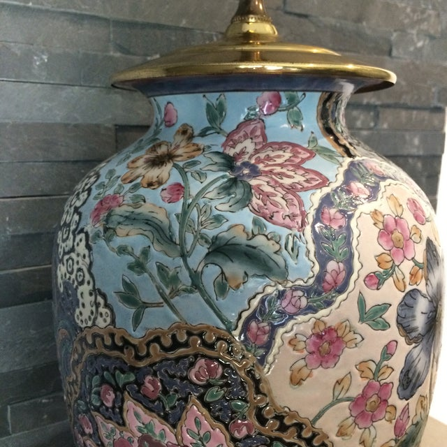Brass Vintage Ceramic Chinoiserie Floral Lamp For Sale - Image 7 of 9
