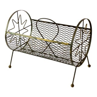 1950s Mid-Century Modern Round Metal Magazine Rack For Sale
