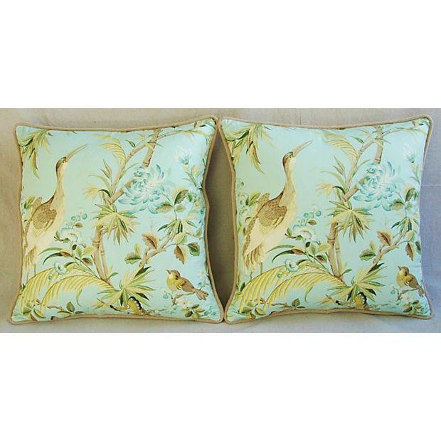 Tropical Egret & Floral Pillows - Pair - Image 7 of 8