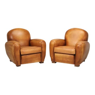 French Leather Club Chairs in Orig. Condition For Sale