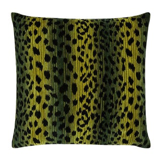 "Modern Black and Green Leopard Velvet Green ""Martin"" Pillow - 22x22"" For Sale"