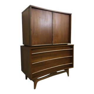 Young Manufacturing Walnut Highboy Bureau