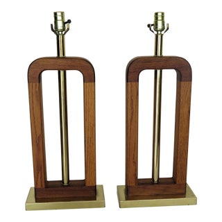 1970s Danish Modern MIX Woods Lamps - a Pair For Sale