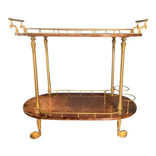 Vintage Italian Aldo Tura Lacquered Goatskin Bar Cart For Sale