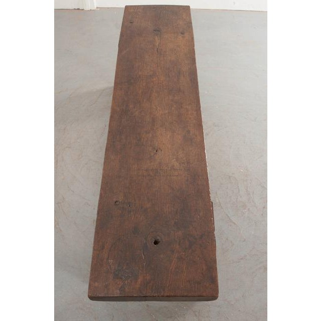 Oak English Early 19th Century Thick Oak Bench For Sale - Image 7 of 12