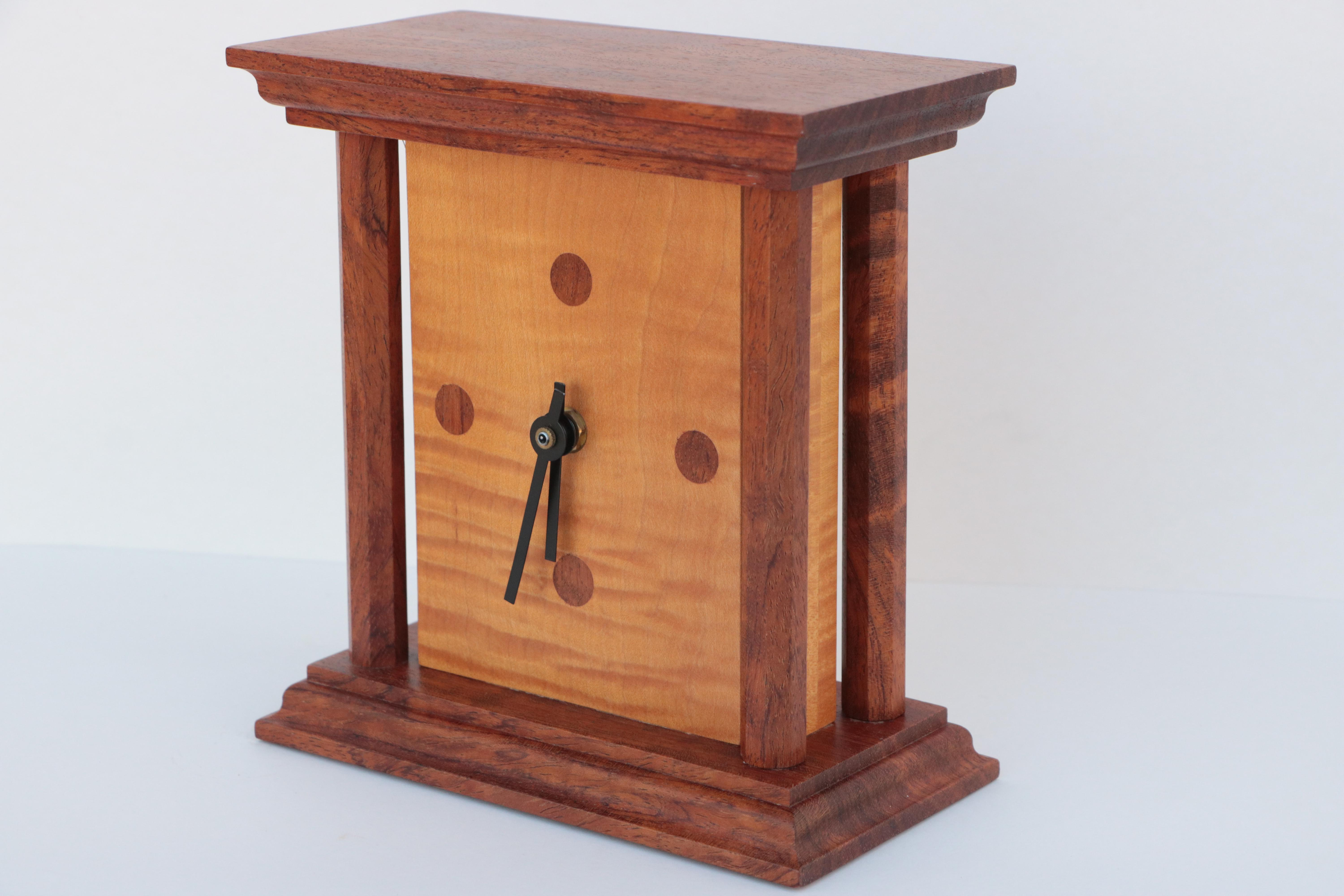 Modernist Wood Table Clock in Curly Maple with Mahogany Tone Case
