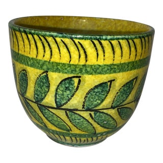 Vintage Italian Modern Hand Painted Green & Yellow Flower Pot For Sale