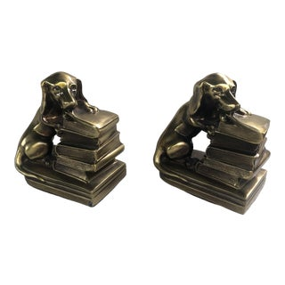 20th Century Cast Metal Brass Dachshund Bookends For Sale
