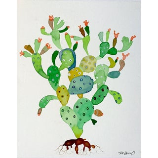 """Cactus Dancer"" Watercolor Painting For Sale"