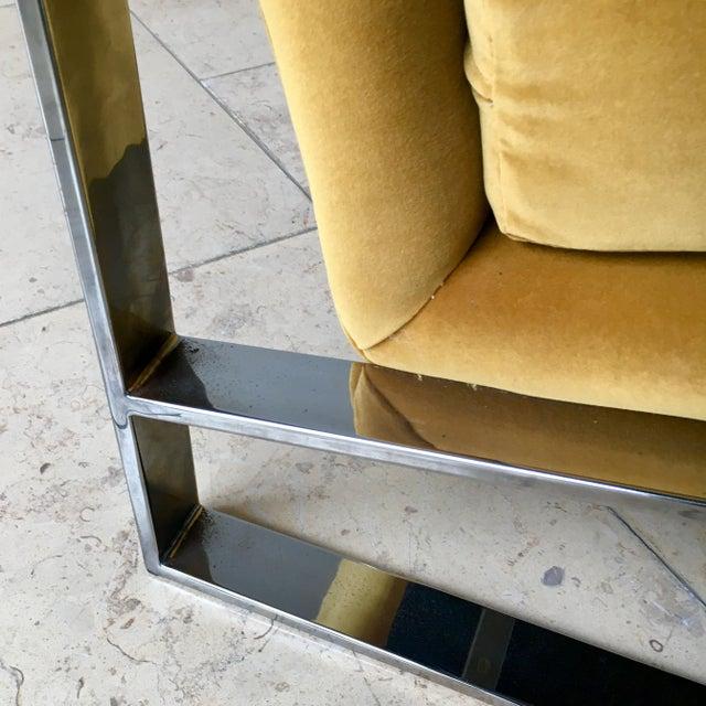 Metal Chromium Steel Framed Velvet Armchairs 1970s For Sale - Image 7 of 11