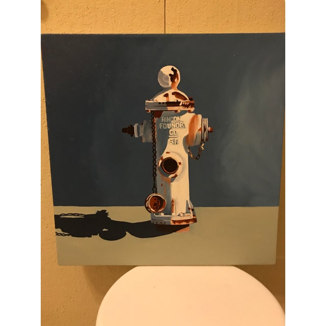 Original 2002 artwork by Jody Litton. An urban landscape rincon fire hydrant oil painting. Signed and dated on verso...